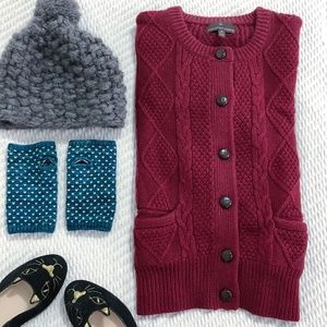 Cranberry/Maroon Cable Knit Cardigan S/M